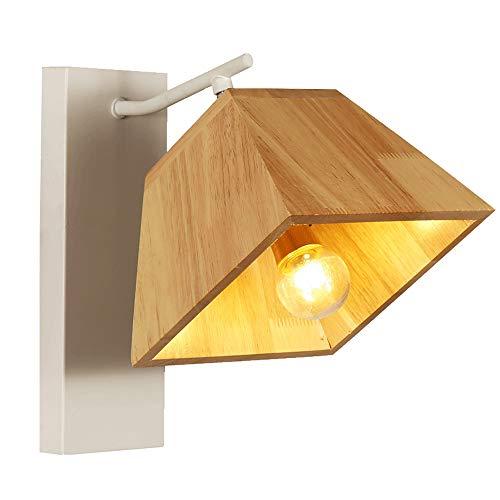 Quadratische Wandleuchte aus Holz, Sockel aus weißem Metall - Kreative Nachttischlampe mit Leselampe für Schlafzimmer DIY Edison Romantic Art Lighting, Leuchte für Festivalgeschenke, Sockel E27 - Quadratischen Sockel Aus Holz