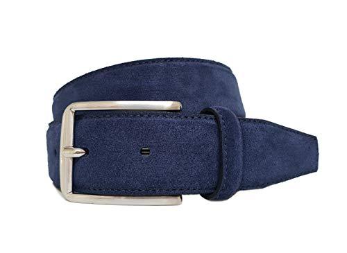 Giorgio Vandelli Cinturón de hombre en piel auténtica de gamuza Azul - 100% hecho en Italia - excelente calidad (110cm Cintura - 125cm Longitud total)