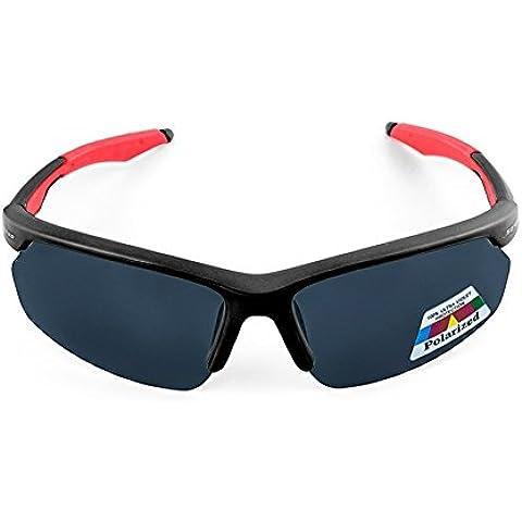 bicicletta polarizzate occhiali Equitazione da sole di guida sportivi PC Bettertol con 5 lenti intercambiabili (Nero)