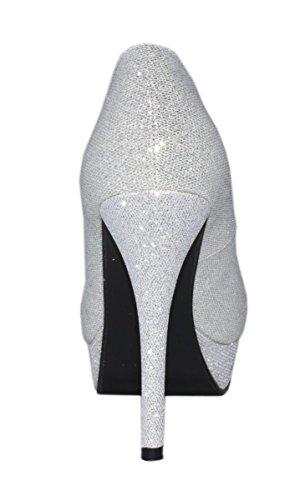 Elara Plateaupumps | Damen Glitzer Stiletto High Heels | Party Pumps Silber -