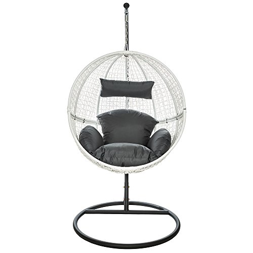 TecTake Garden swing chair with standing steel frame + cushions poly ...