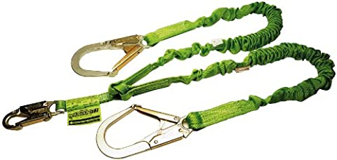 Miller by Honeywell 231M/4FTGN 4-Feet Manyard II Shock-Absorbing Stretchable Web Lanyard with 2-1/2-Inch Locking Rebar Hook, Green