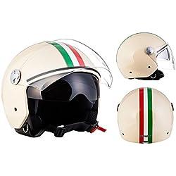 "Armor · AV-63 ""Italy Creme"" (yellow) · Casque Moto Jet · Demi Jet Retro Cruiser Scooter Helmet Chopper · ECE certifié · Separate Visors · Click-n-SecureTM Clip · Sac fourre-tout · S (55-56cm)"