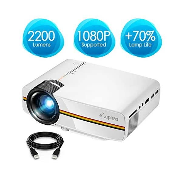 Projector, ELEPHAS 2200 Lumens LED Video Projector, Updated LCD Technology Support 1080P Portable Mini Multimedia Projector Ideal for Home Theater Entertainment Games Parties, White 41wmLeUsYjL