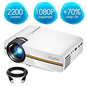 Projector, ELEPHAS 2200 Lumens LED Video Projector, Updated LCD Technology Support 1080P Portable Mini Multimedia Projector Ideal for Home Theater Entertainment Games Parties, White