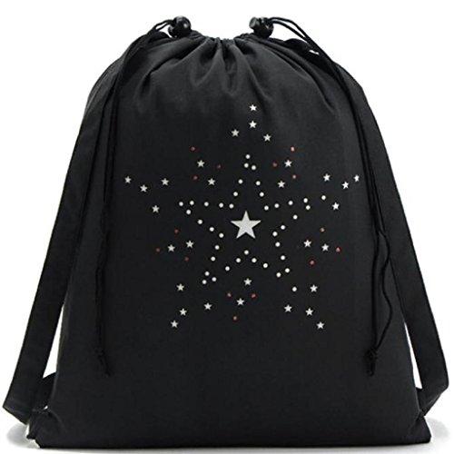 ★Kanpola Unisex Drawstring Sportschuh Tanzkleidung Kopfbedeckung Aufbewahrung Schultasche Rucksack (Troddel Drawstring Handtasche)