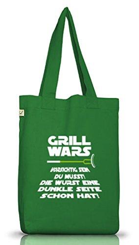 Lustiger Jutebeutel Stoffbeutel Earth Positive von Shirtstreet24 mit Dunkle Seite Grill Wars Motiv Moss Green