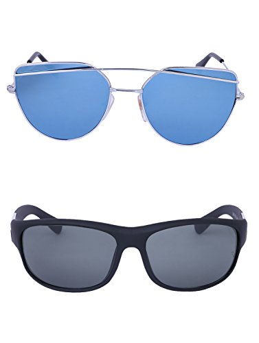 Amour-propre AmourPropre Multicolor UV Protected Unisex sunglasses Pack of 2_(AM_CMB_LP_3069)