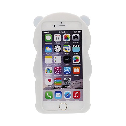 iPhone 6S Hülle 3D Panda Gestalten Serie Slikon Gel [ Glatte Oberfläche ] Super Weich Cartoon Tier Weiß Case Schutzhülle für Apple iPhone 6 / iPhone 6S 4.7 inch Hülle blau