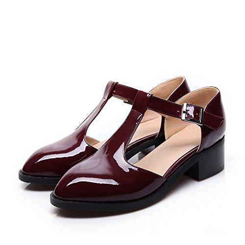 VogueZone009 Damen Niedriger Absatz Gemischte Farbe Schnalle Rund Zehe Pumps Schuhe Weinrot