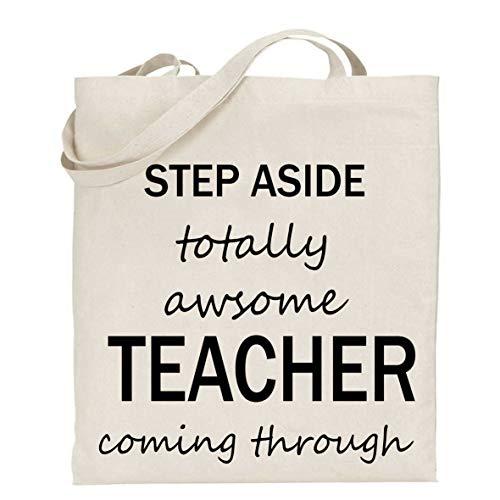 tigerlilyprints Step-Aside Tasche, Geschenk für Lehrer, Dankeschön, Büchertasche, Lehrertasche, schwarzer Text, Shoppertasche, Geschenk zum Jahresende