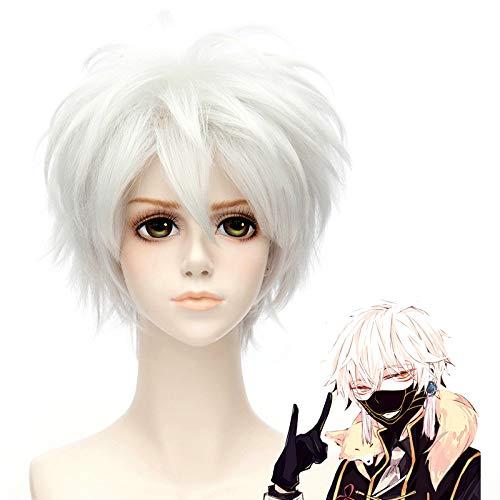 HOOLAZA Silber Weiß Kurze Leichte Flauschige Schwanz Anti Warping Perücke 30 Cm Touken Ranbu Nakigitsune Cosplay Perücke(EINWEG) (Nakigitsune Kostüm)