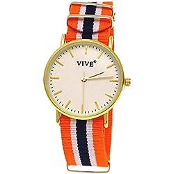 11Pure Time Unisex Clock, Orange, Blue, Gold, Super Flat + Watch Box