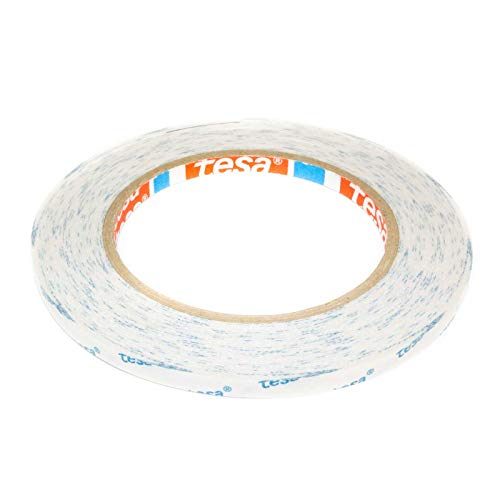 DonDo tesa 4943 Klebeband Bastel-Klebeband für Papier, Fotos, Stoffe doppelseitig transparent stark klebend mit Vliesträger 6mm x 20m