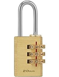 Ducomi® Cadenas à combinaison à 3chiffres–Corps Laiton massif, caisse et engrenages en laiton massif, anse acier cémente pour armoire salle de gym, sacs, sachets, cassette sécurité