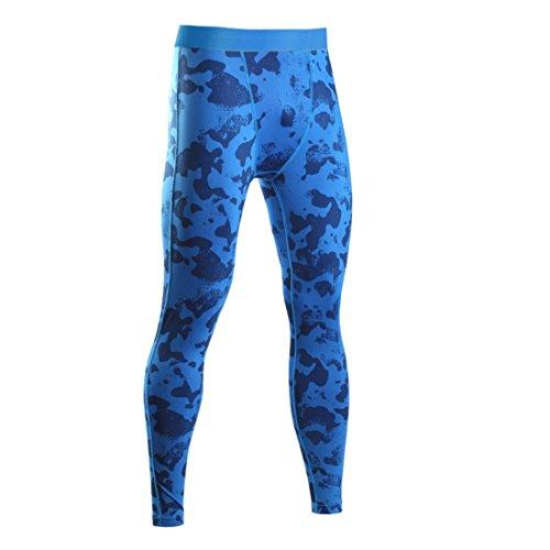 Männer Leggings lang Unterhose Unterwäsche Strumpfhose Herrenleggings Hose (L, Blau) (Dri-fit-unterwäsche)