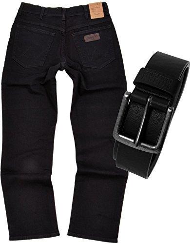 Wrangler TEXAS STRETCH Herren Jeans Regular Fit inkl. Gürtel (W36/L34, Black)