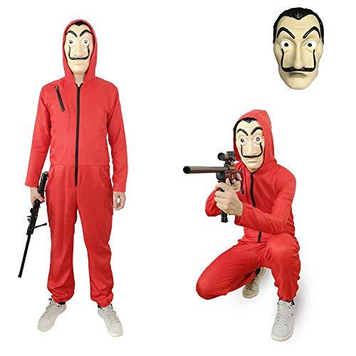 Verkleidung Kostüm Denver - MAXXWEBER Haus des Geldes kostüm L/XL/XXL Herren Damen La Casa De Papel Roter + Masque Anzug Gesichtsmaske de Dali Geldraub (XL)