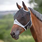 Shires Fine Mesh Fly Mask with Ear Holes in Black, 5 Sizes UV