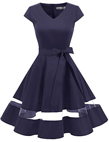 Gardenwed Damen Vintage 1950er Retro Rockabilly Festliches Kleid Cocktailkleider PartyKleid Navy M