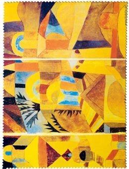 Fridolin Brillenputztuch Paul Klee-Der Tempelgarten, Stoff, Mehrfarbig, 18x12.5x1 cm