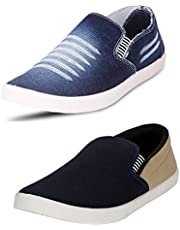 Chevit Men's Combo Denim Blue Combo Casual Shoes