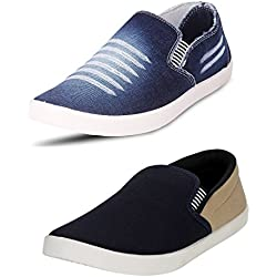Chevit Men's COMBO Denim Blue Combo Casual Shoes (Loafers & Sneakers) CB-W201-BL+PM-Viz-10