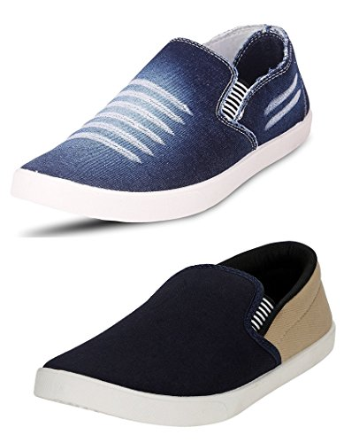 Chevit Men's COMBO Denim Blue Combo Casual Shoes (Loafers & Sneakers) CB-W201-BL+PM-Viz-7
