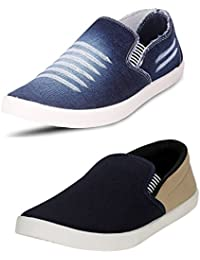 Chevit Men's COMBO Denim Blue Combo Casual Shoes (Loafers & Sneakers)
