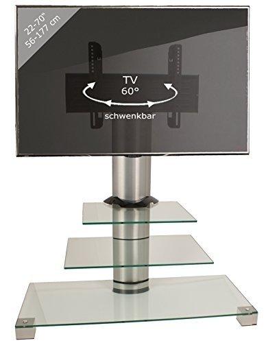 vcm-amalo-mini-soporte-vertical-de-tv-con-ruedas-color-plata-y-2-estantes-de-cristal-claro