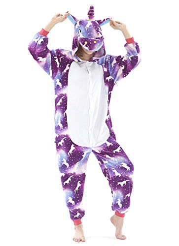 Très Chic Mailanda Karneval Halloween Pyjamas Schlafanzug mit Kapuze Erwachsene Cosplay Kostüm (X-Large, Violett-3)