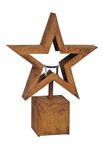 PW Edelrost Säule Windlicht Stern klein 52,5 cm Weihnachten Gartendeko