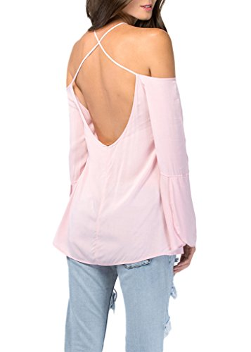 Bigood Sexy Chemise Femme Mousseline de Soie T-shirt Chemisier Blouse Sexy Epaule Dos Nu Bretelles Rose