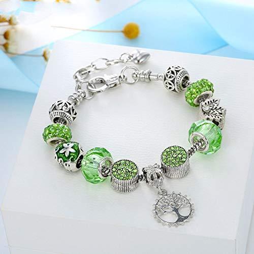 ZGRJIUERYI Armband,Damen Armband Armband Retro, Legierung Großes Loch Perlen Armband, Kristall Glas Lebensbaum, Für Damenmode Kleidung Persönlichkeit Mit Vintage Schmuck Grün
