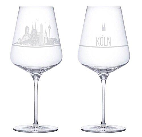 I LOVE KÖLN Weinglas 2er Set mit der Köln Skyline - Das exklusive Weinglas mit Stadtgeschichte. (Kristallglas - Made in Germany) Das perfekte Geschenk für Weinliebhaber.