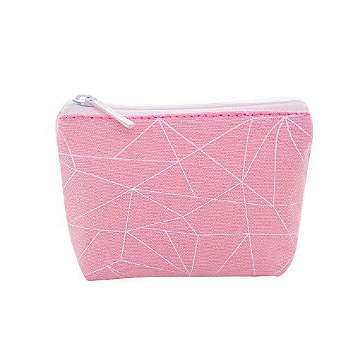 Frauen-geometrisches Muster-Umschlag-Geldbeutel-Kupplungs-Reißverschluss-Kosmetiktasche, Rosa -