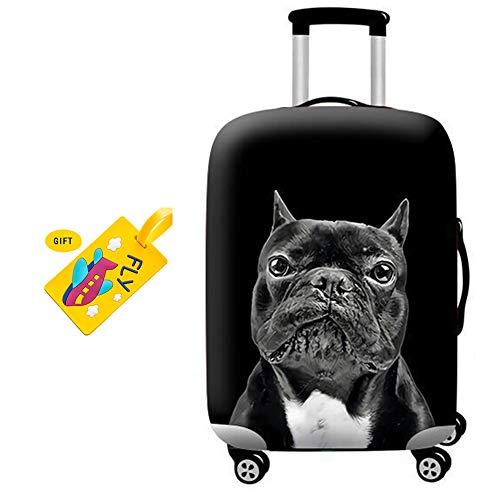BEIAKE Spandex Reisegepäck Abdeckung, Koffer Schutztasche passt 18-32 Zoll Gepäck Schwarz Haustier Hund Muster, Waschbar, Stark Und Abriebfest,Q,L
