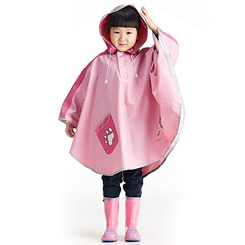Baby-Kind-Wasserdichte Kapuzenmantel-Jacken-Oberbekleidung-Regenmantel-Kapuzenpullis Regen Poncho (Farbe : Rosa, Größe : X-Large) ()