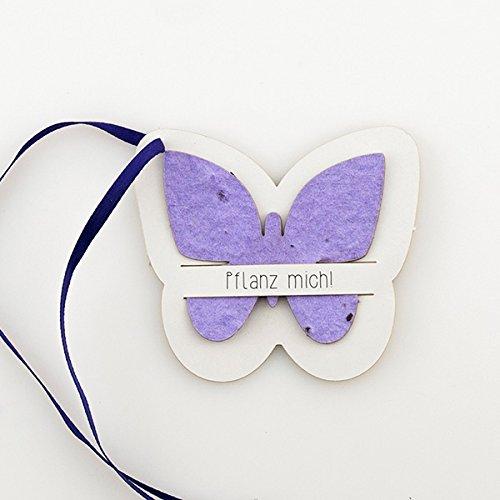 """Plantable Wishes """"Schmetterling"""", lila - 5er-Set - Blumensamen als besonderes Gast-Geschenk für Ihre Hochzeitsgäste, lila Saatpapier in Schmetterlings-Form mit Klappkarte"""