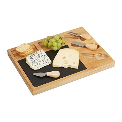 Relaxdays – 10022234 Set Tabla de queso Quesera Divide de bambú, 3 Queso Cuchillo, de pizarra, hxbxt: 3 x 40 x 30 cm, color natural