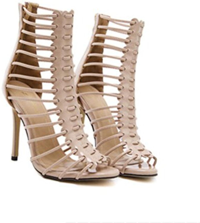 GAOLIXIA Zapatos de Mujer PU Strap Sandalias Huecas Cozy Roman Party High Heels Black Silver Apricot Gold (Color...