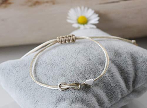 Armband Infinity und Herz silber farben bicolor Macramé Freundschaftsarmband Unendlichkeitszeichen Damen Macramee Partnerarmband in vielen Farben erhältlich zweifarbig -