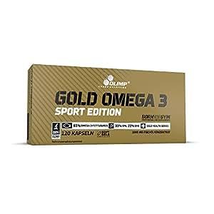 Olimp Gold Omega 3 Sport Edition   120 Kapseln   Nahrungsergänzungsmittel mit Fettsäuren und Vitamin E   für Herz, Kreislauf und Sehkraft