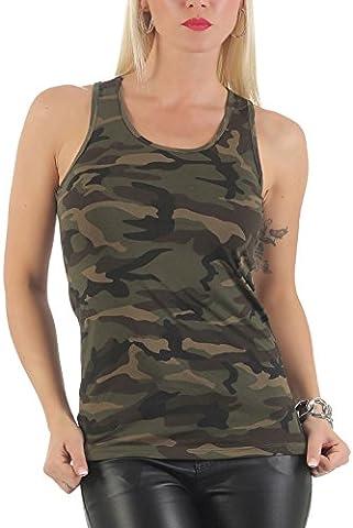 malito Tank-Top Camouflage Design T-Shirt Slim fit CR-1206 Femme (L/XL, olive)