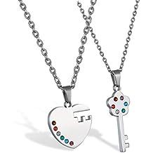 JewelryWe Collares para Parejas Enamorados, Llave y Corazón Plateados Colgante de Color Plata, Regalo para Parejas 2 Piezas