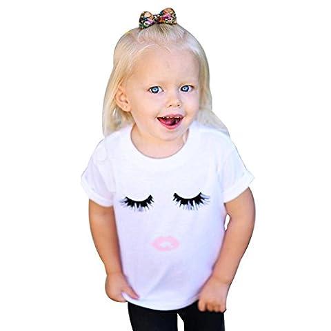 Mangotree Unisex Baby Kinder Rundkragen T-Shirt Mädchen Wimpern & Lippen Druck Sommer Cute Weiß Kurzarm Bluse Tops (100CM für 12-18 Monate, Weiß)