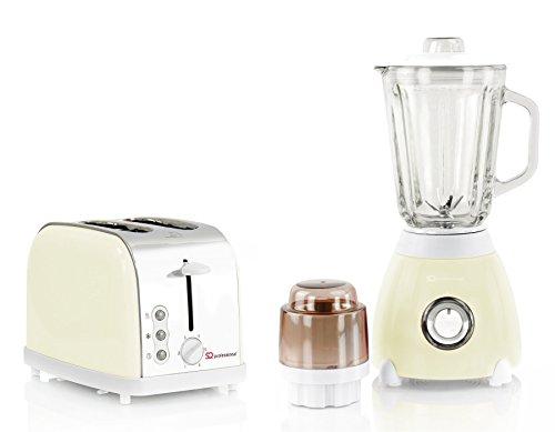 Toaster und Standmixer Mixer Set, Edelstahl - Creme