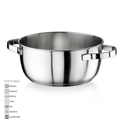 Casseruola fonda diametro 30cm da 7 lt ACCIAIO INOX satinato della Pintinox modello Royal MADE IN ITALY anche per cucina ad induzione