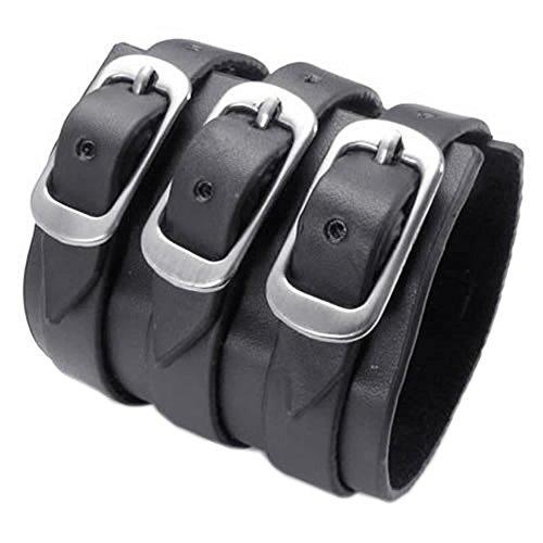 KONOV joyas pulsera para hombre-apta para la circonférence de brazo 17A 22cm-Gemelos-estilo punk rock-piel-Fantasía-para hombre-Cadena de mano-Color Negro-Con bolsa regalo