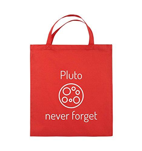 Comedy Bags - Pluto never forget - Jutebeutel - kurze Henkel - 38x42cm - Farbe: Schwarz / Silber Rot / Weiss